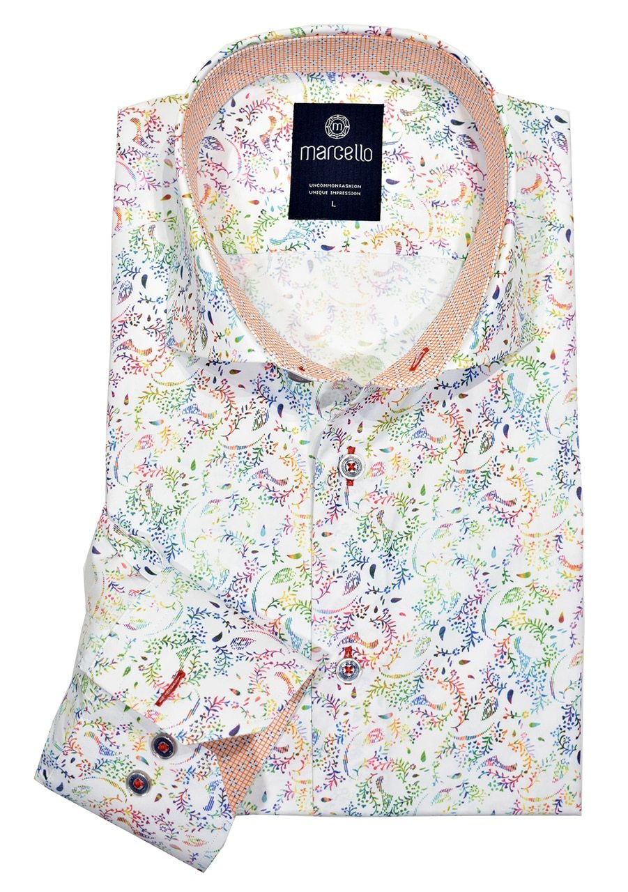 W1072 Rainbow Floral Sport Shirt - Marcello Sport