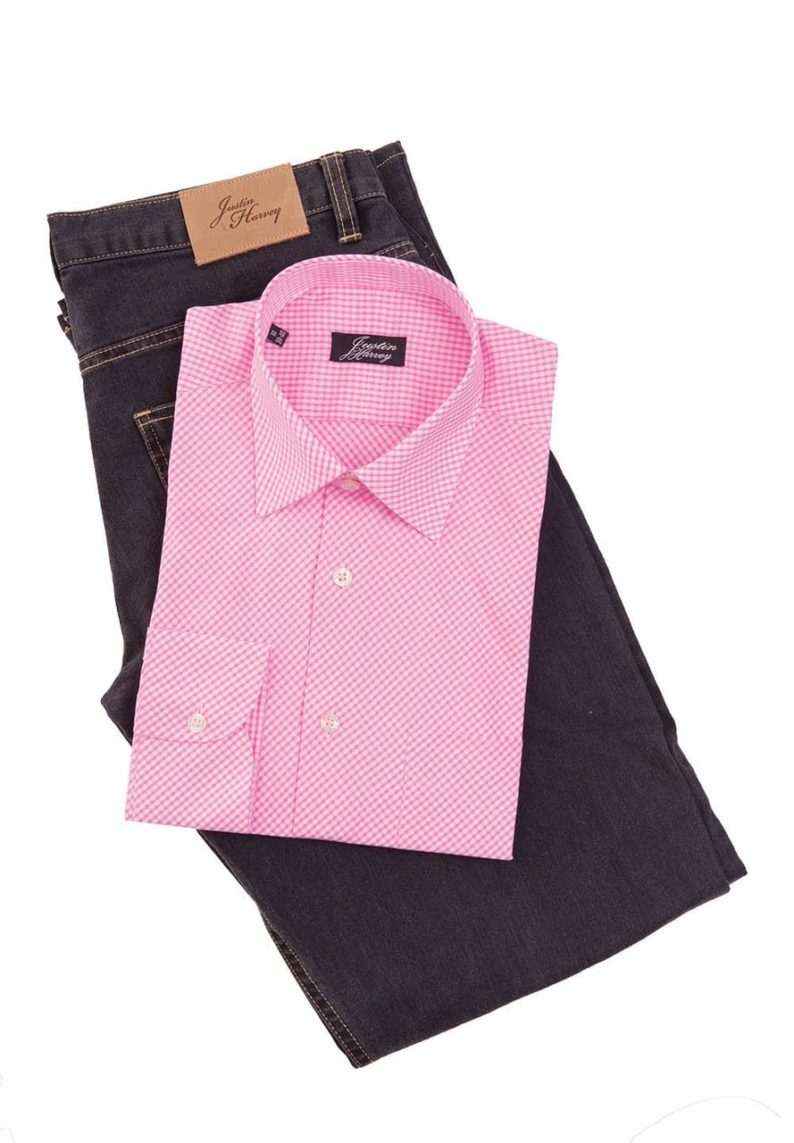 ZW053 Justin Harvey Diamond Gingham Mens Shirt - Black or Pink - Marcello Sport