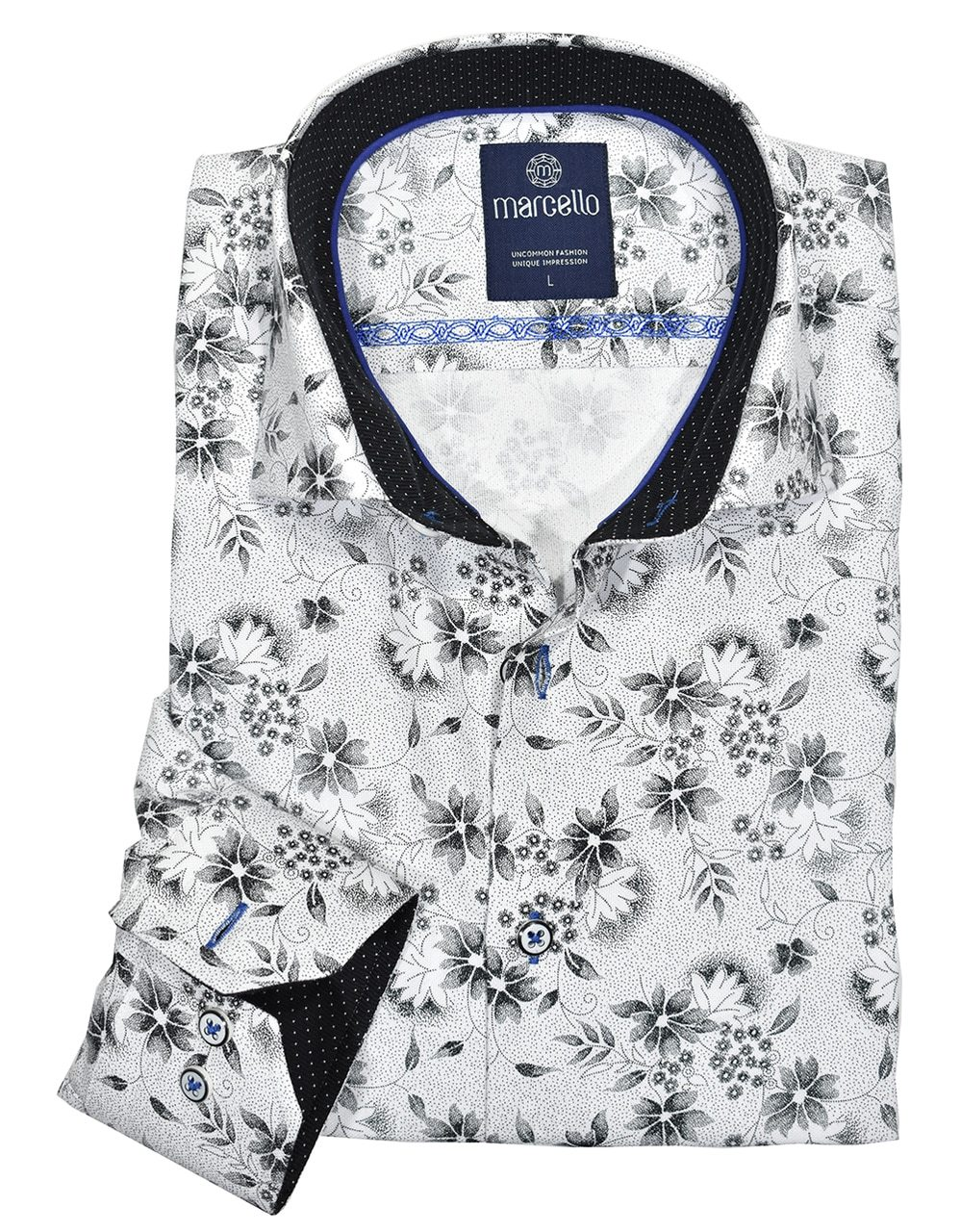 W1046 Graphite Floral Cotton Shirt - Marcello Sport