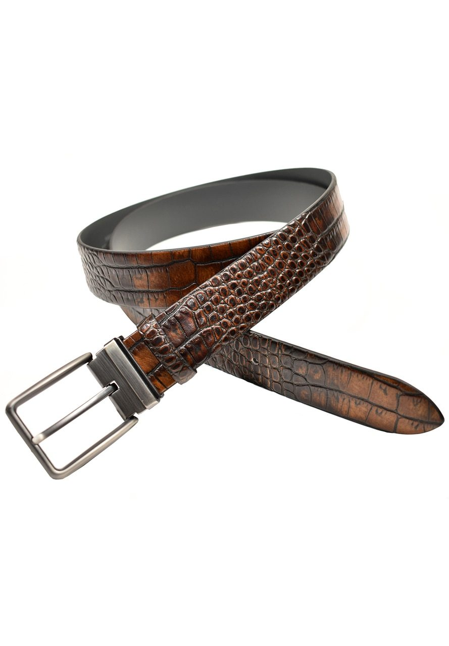B04 Fashion Embossed Crocodile Belt Men's Leather Belt - Marcello Sport
