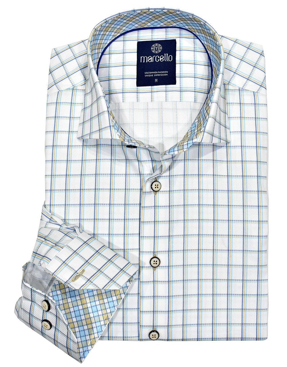W1034 Mist Window Pane Shirt - Marcello Sport