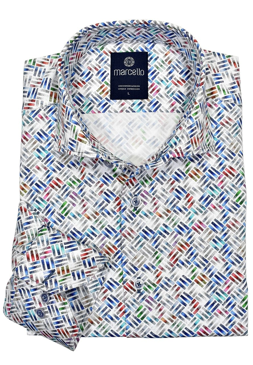 W189 Cotton Color Geometric Shirt - Marcello Sport