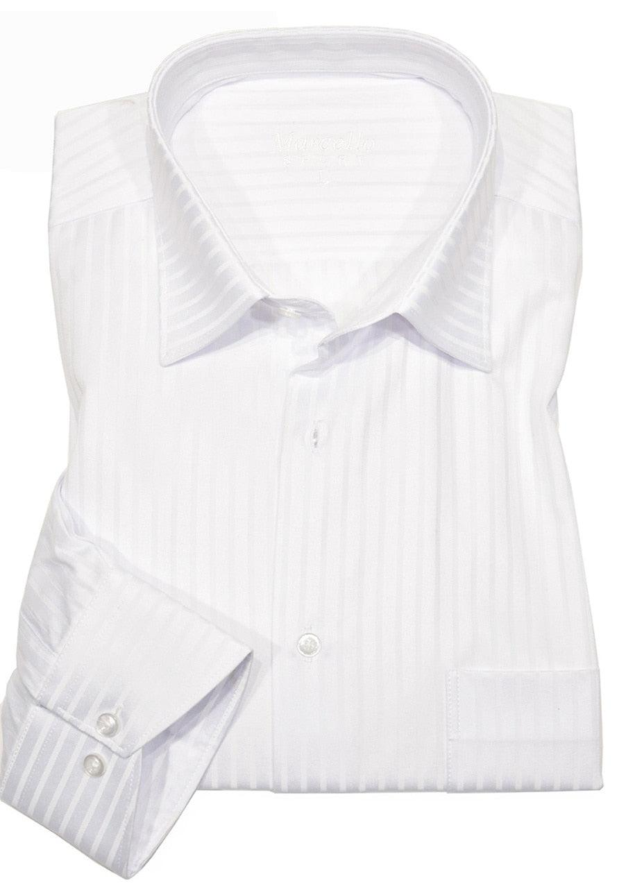 WS00-w Marcello Sport Business Casual Striped Shirt White