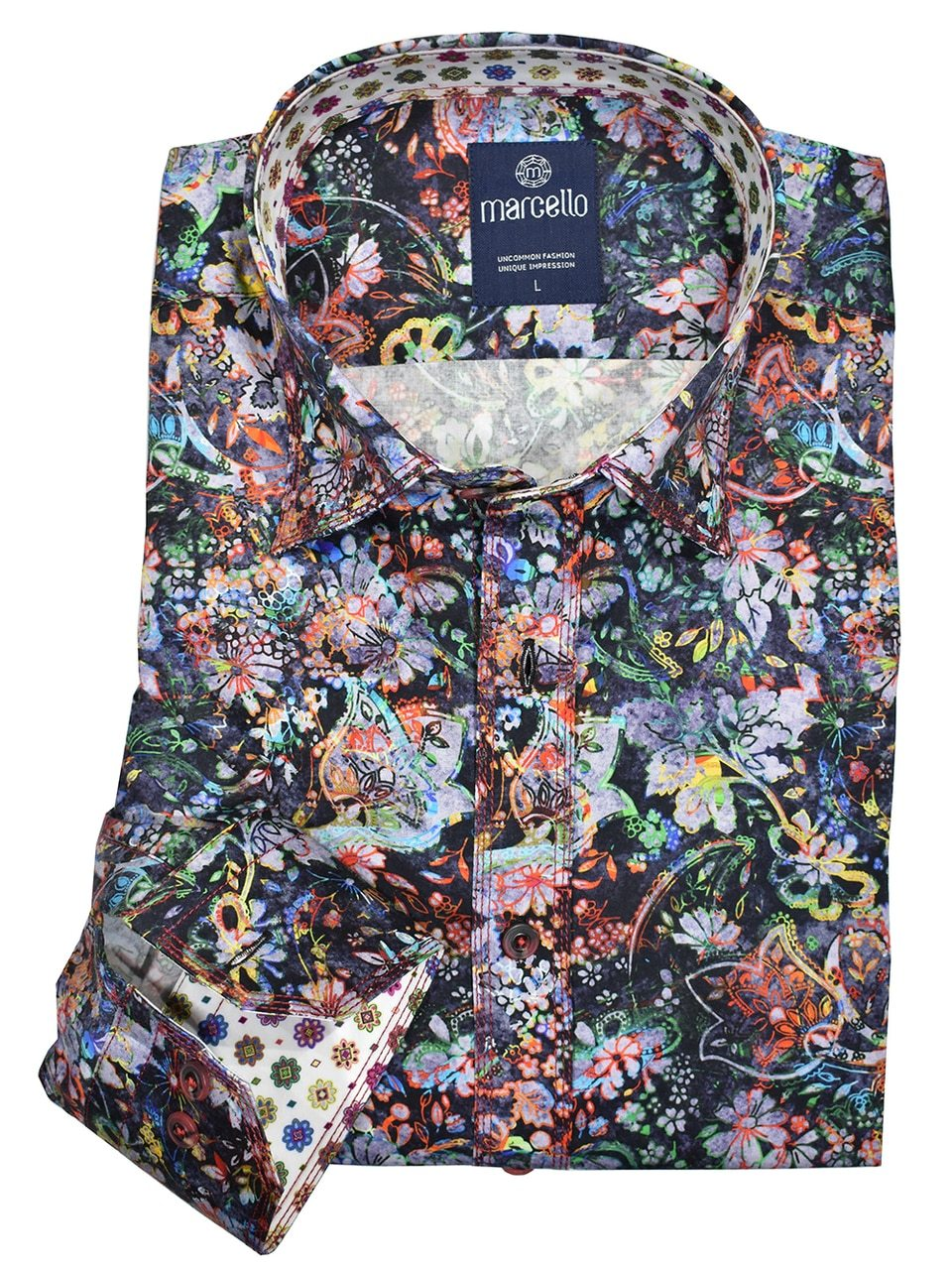 W1047 Washed Fiesta Floral Shirt - Marcello Sport