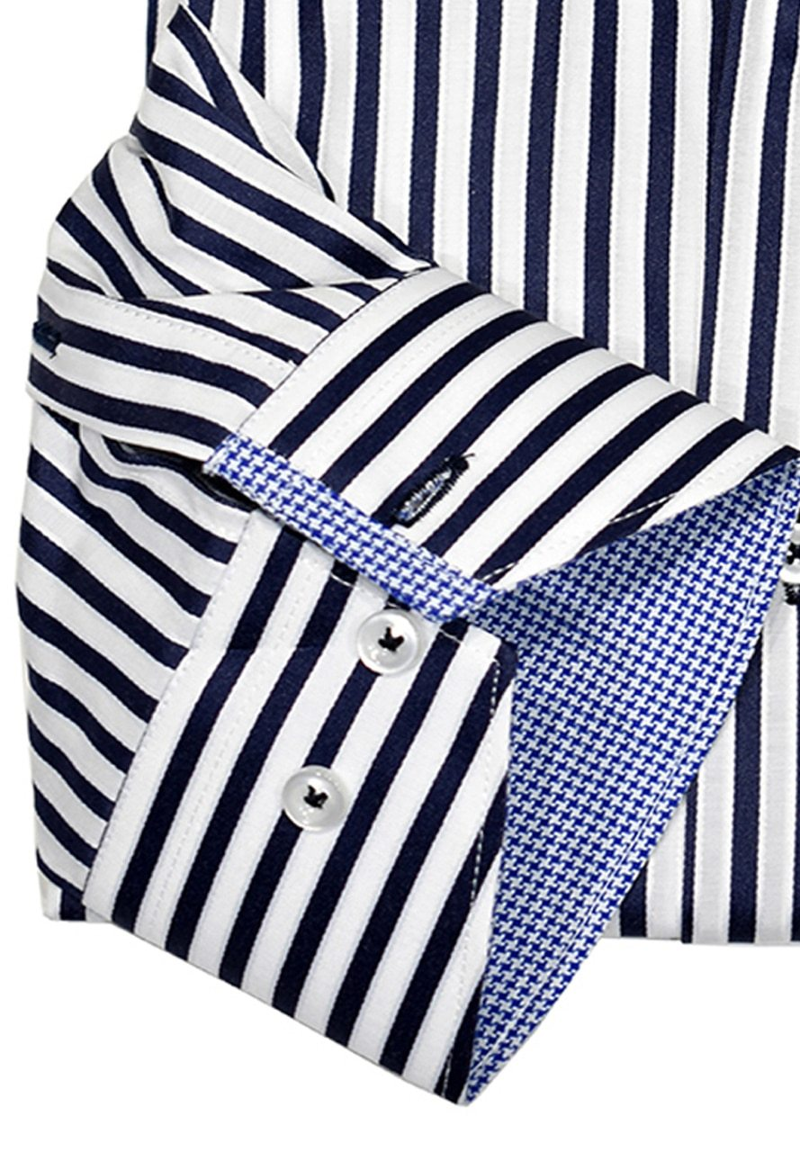 WS00-n Marcello Sport Business Casual Striped Shirt Navy - Marcello Sport