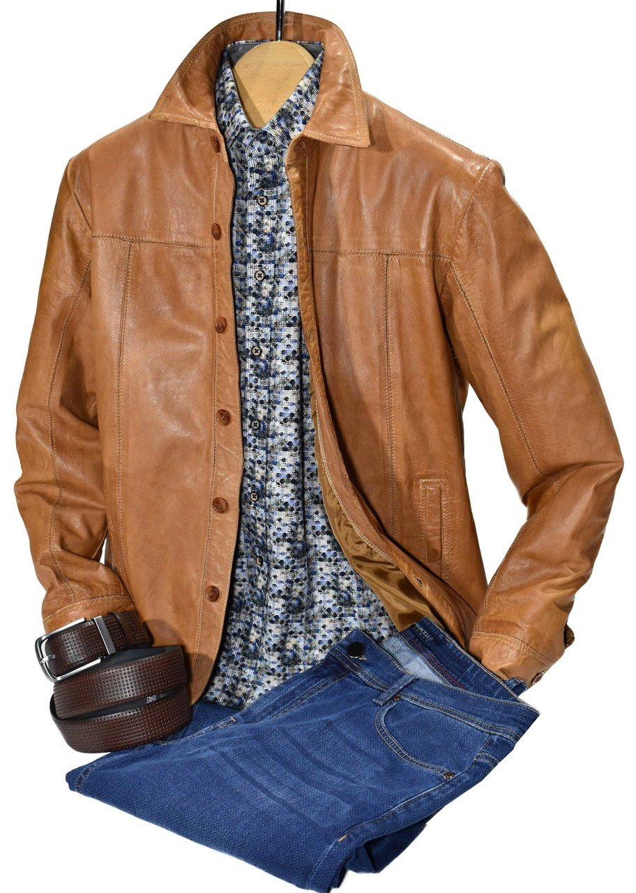 ZM3393 Antiqued Leather Shirt Jacket - Marcello Sport