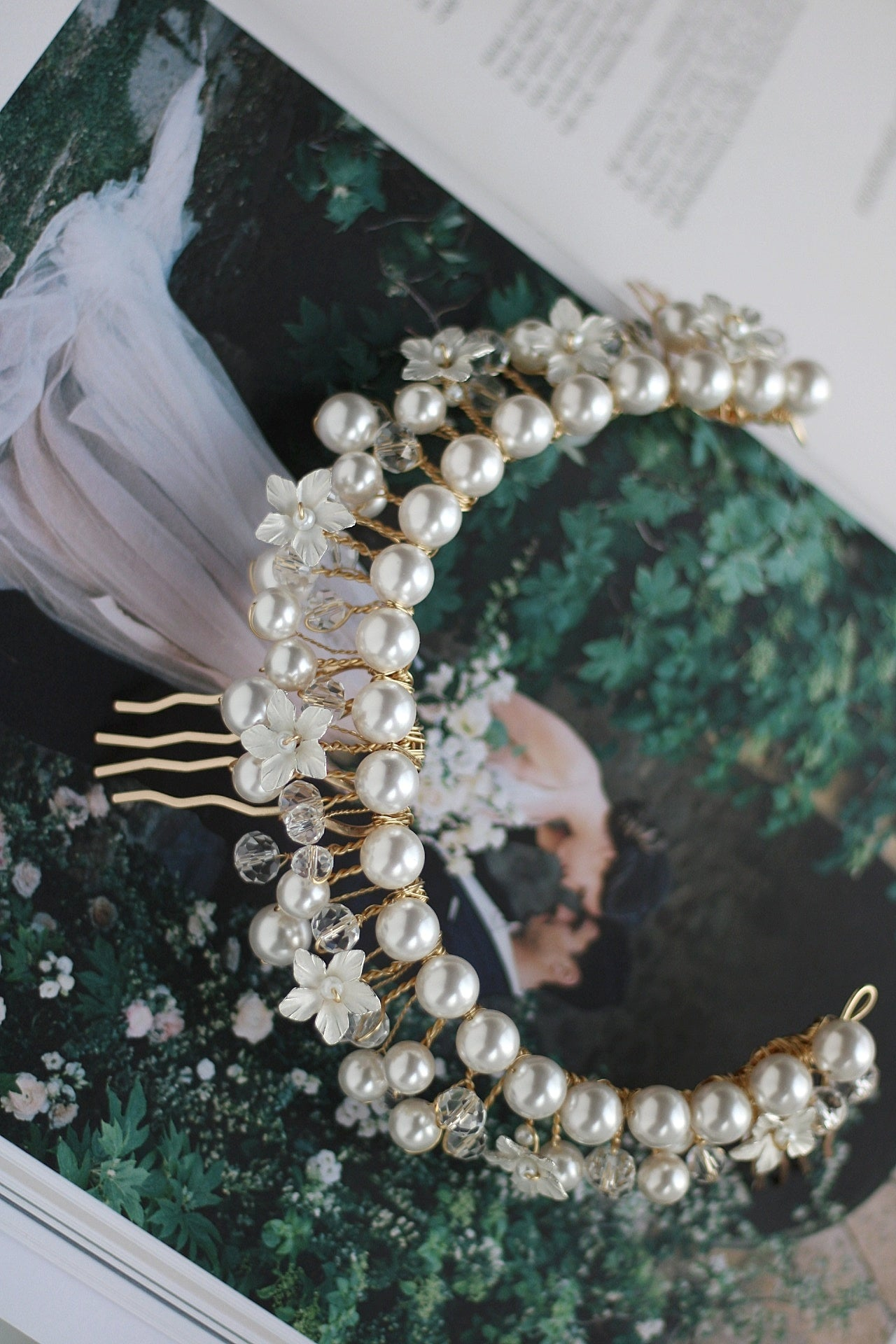 A bespoke pearl headpiece for Megan