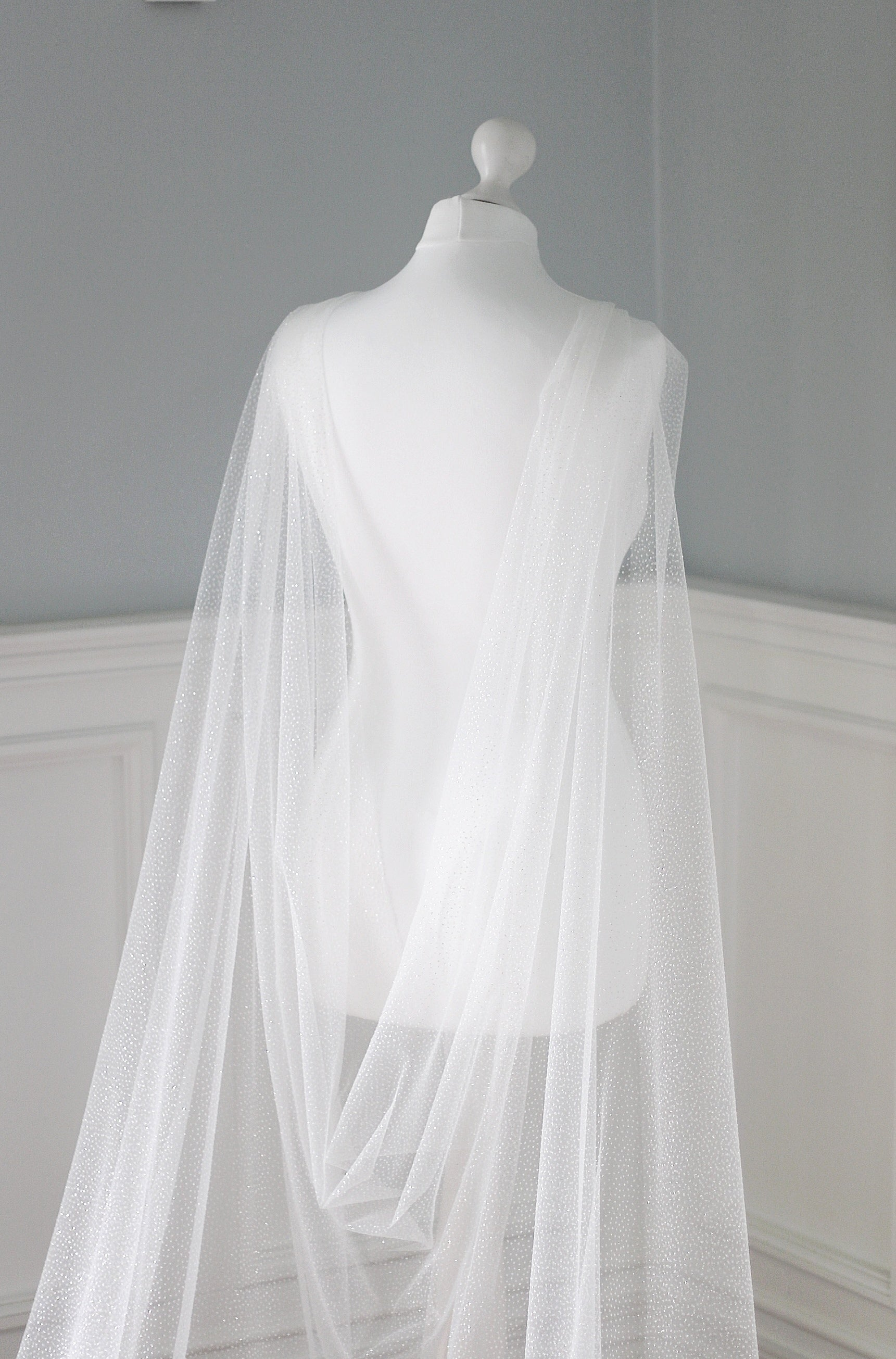 Silver sparkle wedding cape for bride Sharleen