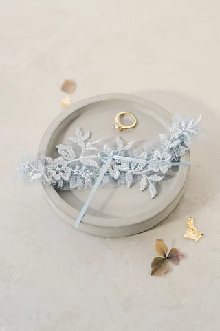 blue ruffle and lace wedding garter