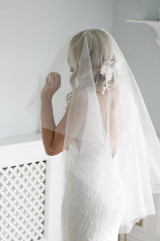 luxury short handmade wedding veil with lace by megan therese