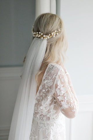 deluxe wide wedding veil and pearl headpiece