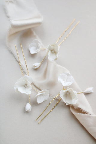 Luxury clay flower pin set for the romantic bride