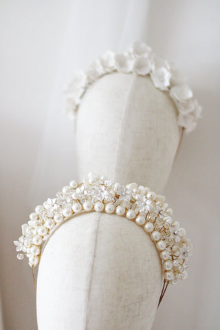 handmade pearl wedding crowns by megan therese