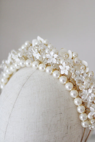 handcrafted flower and pearl wedding crown by megan therese
