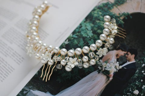 luxury pearl wedding headpiece by megan therese