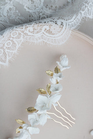bespoke gold leaf and clay flower comb for bride