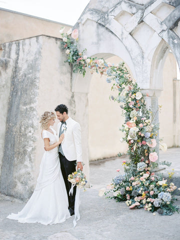 bride and groom in amalfi coast wedding
