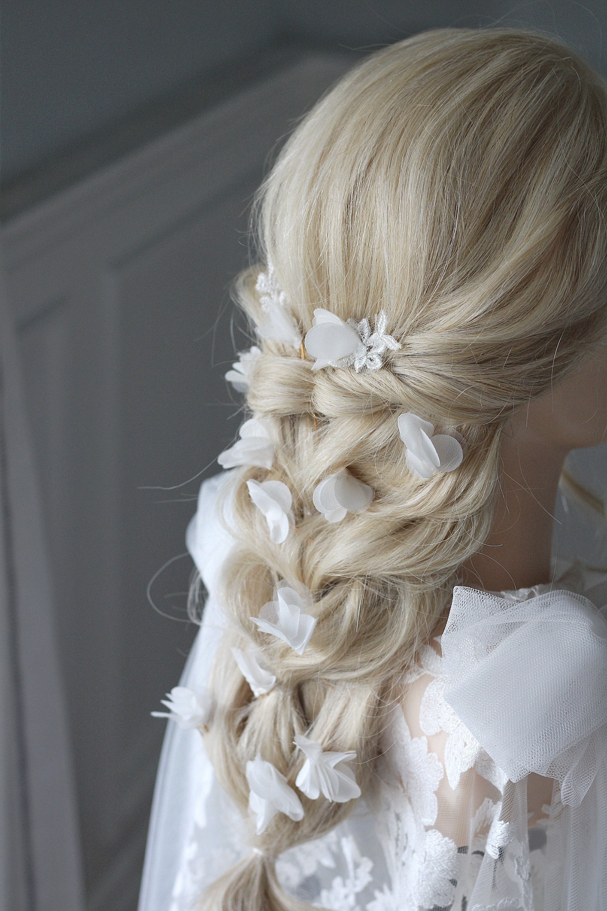 LONG BRIDAL HAIR BRAID WITH FLOWER PETAL PINS BY MEGAN THERESE COUTURE BRIDAL ACCESSORIES