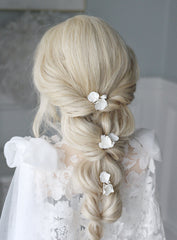 clay flower pin bridal set for bride