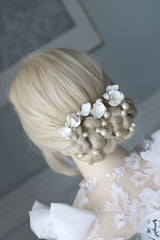 clay flower bridal pins by megan therese