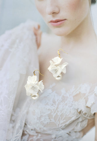 handcrafted clay flower earrings for the bride