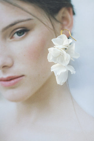 luxury handcrafted clay flower earrings for bride