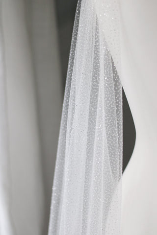 shimmering and sparkly wedding cape or veil made by megan therese