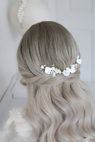 wild willow bridal clay flower hair pin set by megan therese