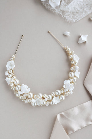 luxury pearl and flower bridal crown by megan therese