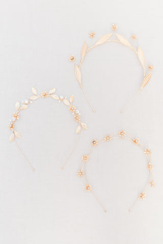 delicate gold bridal crowns by megan therese