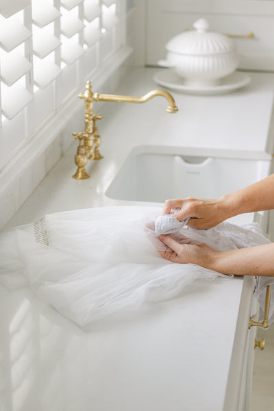 how to spot clean your wedding veil by megan therese