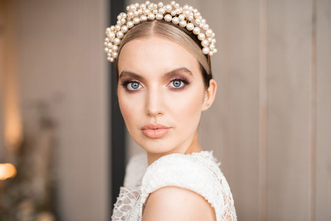 statement pearl wedding crown by megan therese