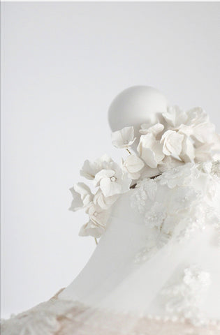 handcrafted clay flower bridal crown by megan therese