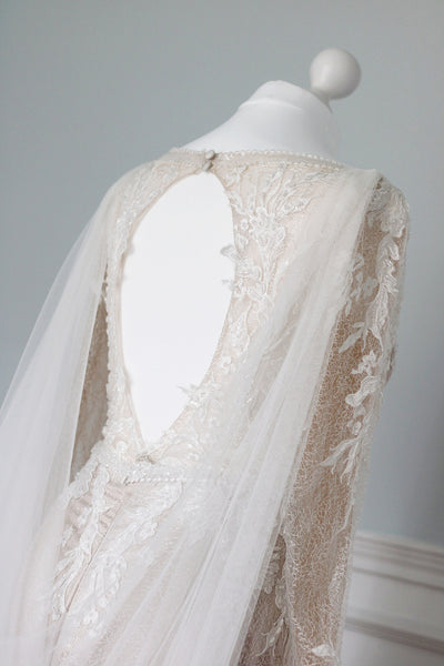 MARIANNA cape | silk style deep bridal cape