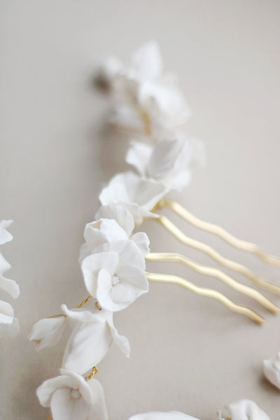 clay flower bridal comb