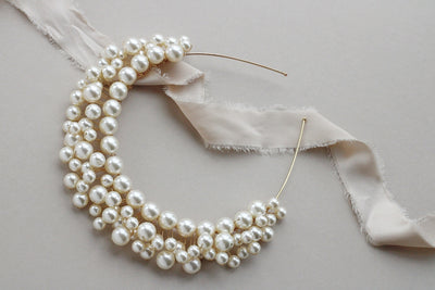 luxury pearl wedding crown for bride by megan therese