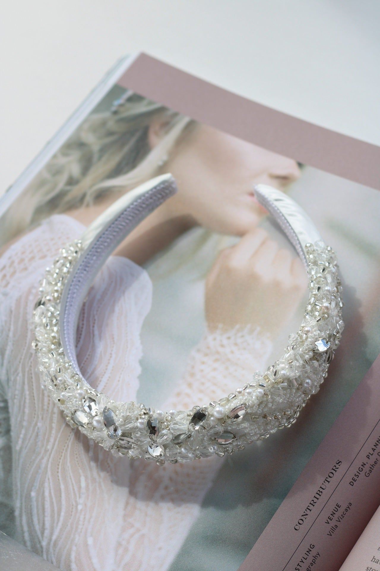 Luxury crystal bridal headband for the cool bride
