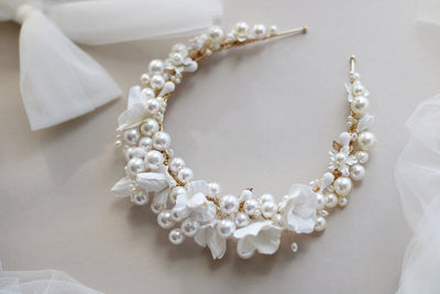 luxury pearl and clay flower wedding crown for bride