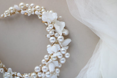 oversized pearl and clay flower bridal crown