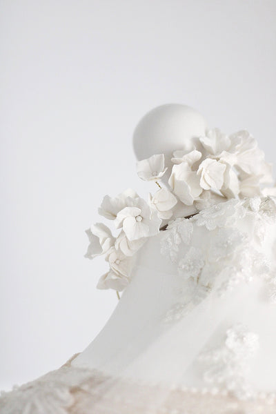 bridal polymer flower clay statement crown