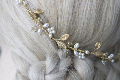 WILLOW | gold leaf bridal circlet