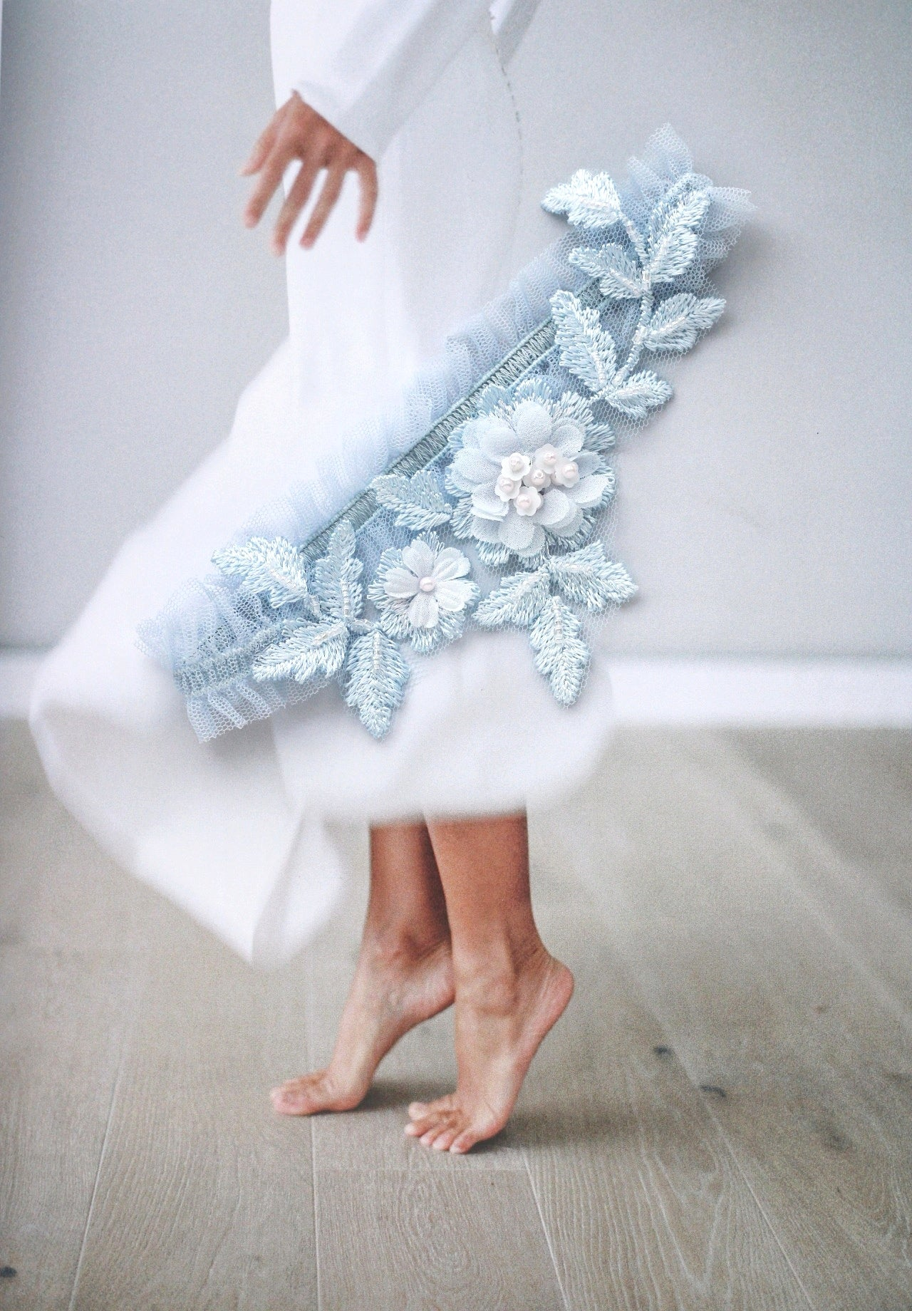 luxury blue wedding garter