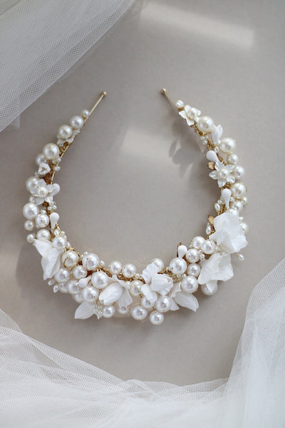 luxury pearl wedding crown for bride