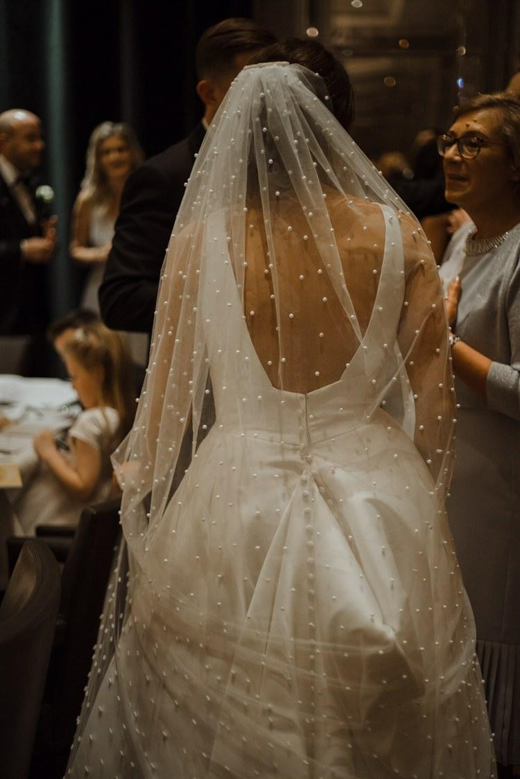 PEARLS   ivory bridal veil   Megan Therese Couture