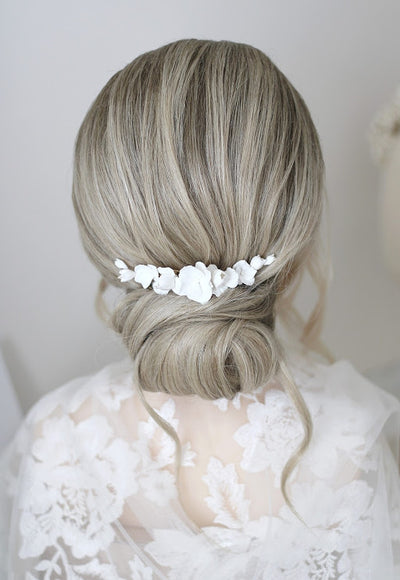 handmade flower clay bridal comb by megan therese