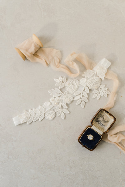 Ivory lace wedding garter by Megan Therese-