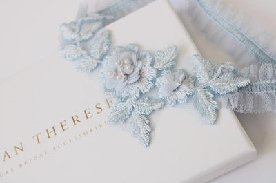 lace tulle blue garter for wedding
