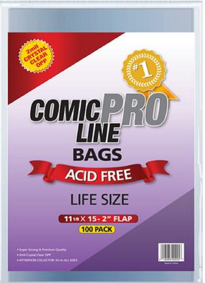 "Life Sized Comic Book Bags 100  11 1/8"" x 15"""