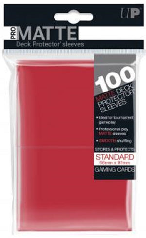 Deck Protector MATTE Red Card Sleeves 100 Standard Size