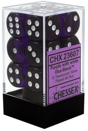 Chessex 12d6 Purple Translucent 16mm Dice